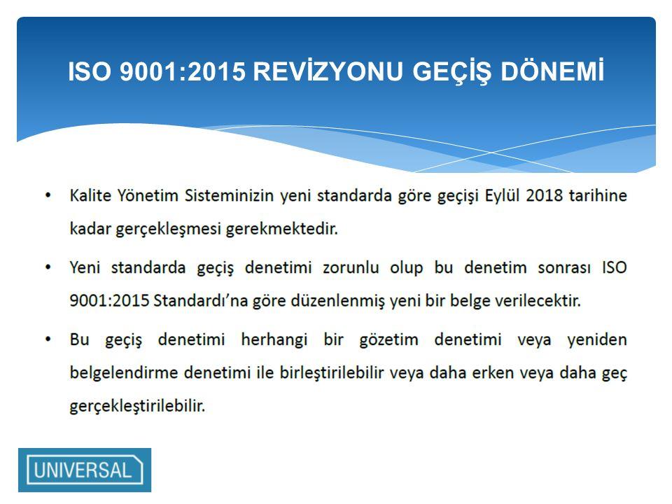 ISO 9001:2015 REVİZYONU GEÇİŞ DÖNEMİ