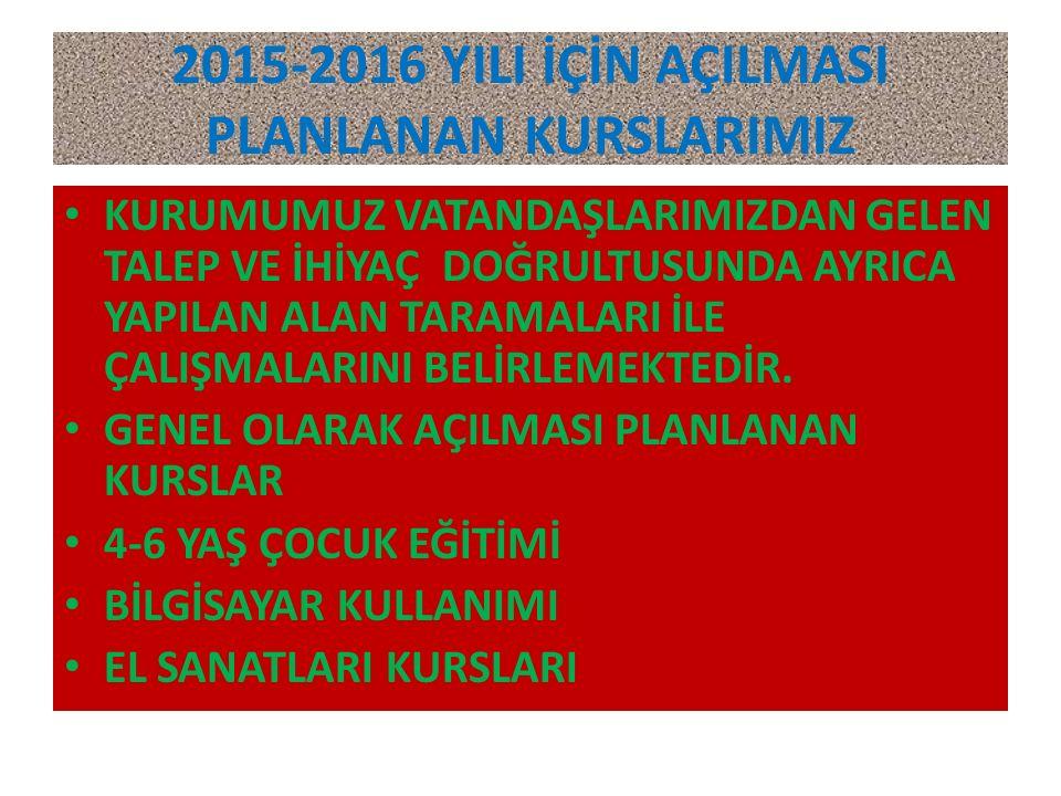 2015-2016 YILI İÇİN AÇILMASI PLANLANAN KURSLARIMIZ