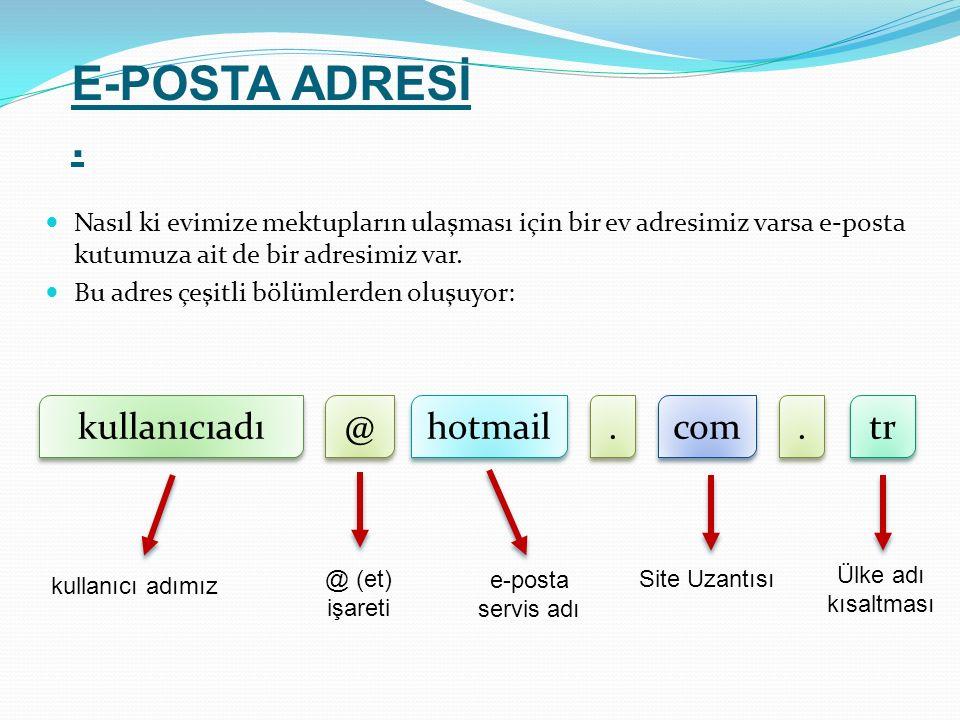 E-POSTA ADRESİ . kullanıcıadı @ hotmail . com . tr