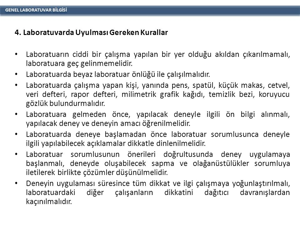 GENEL LABORATUVAR BİLGİSİ