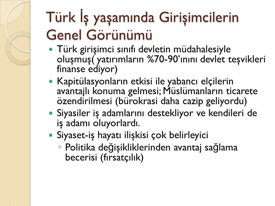 Türk İş yaşamında Girişimcilerin Genel Görünümü