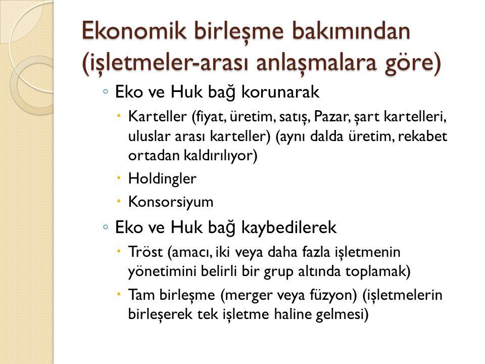 Ekonomik birleşme bakımından (işletmeler-arası anlaşmalara göre)