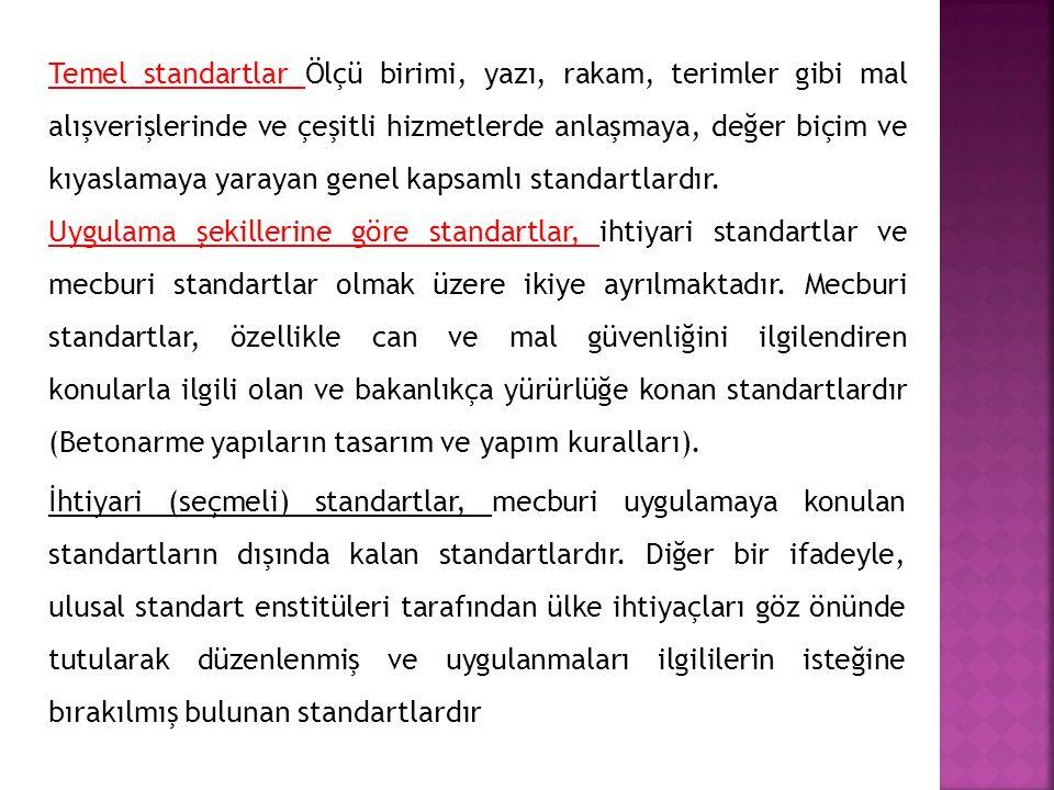 Temel standartlar Ölçü birimi, yazı, rakam, terimler gibi mal alışverişlerinde ve çeşitli hizmetlerde anlaşmaya, değer biçim ve kıyaslamaya yarayan genel kapsamlı standartlardır.