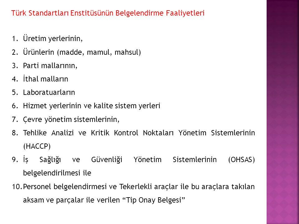 Türk Standartları Enstitüsünün Belgelendirme Faaliyetleri