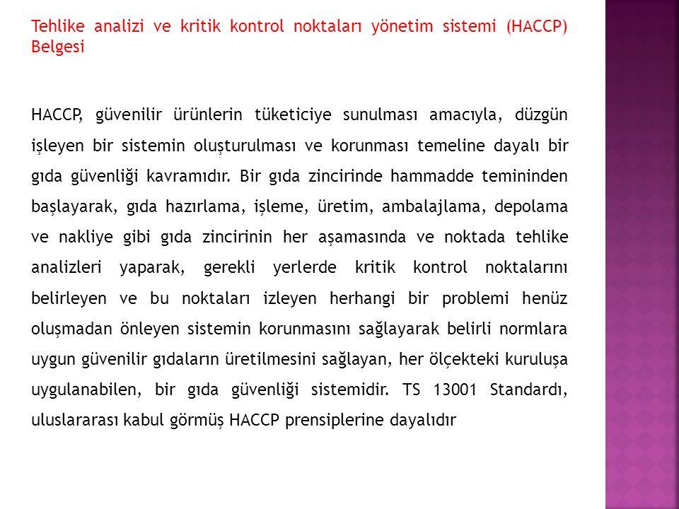 Tehlike analizi ve kritik kontrol noktaları yönetim sistemi (HACCP) Belgesi
