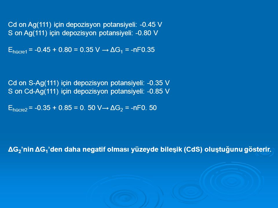 Cd on Ag(111) için depozisyon potansiyeli: -0.45 V