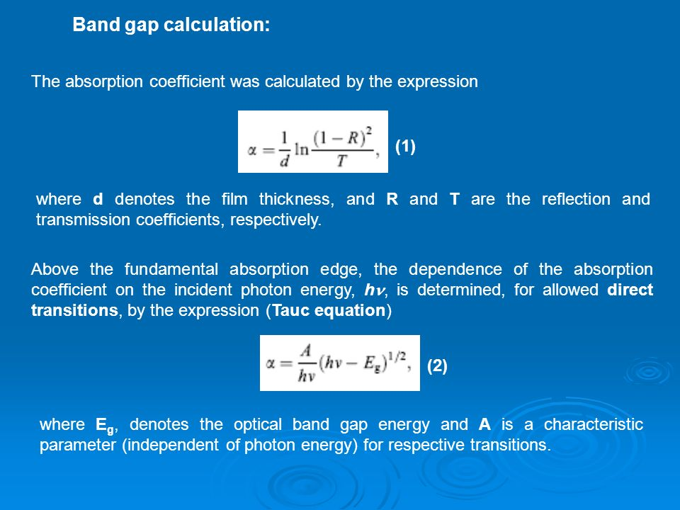 Band gap calculation: The absorption coefficient was calculated by the expression. (1)
