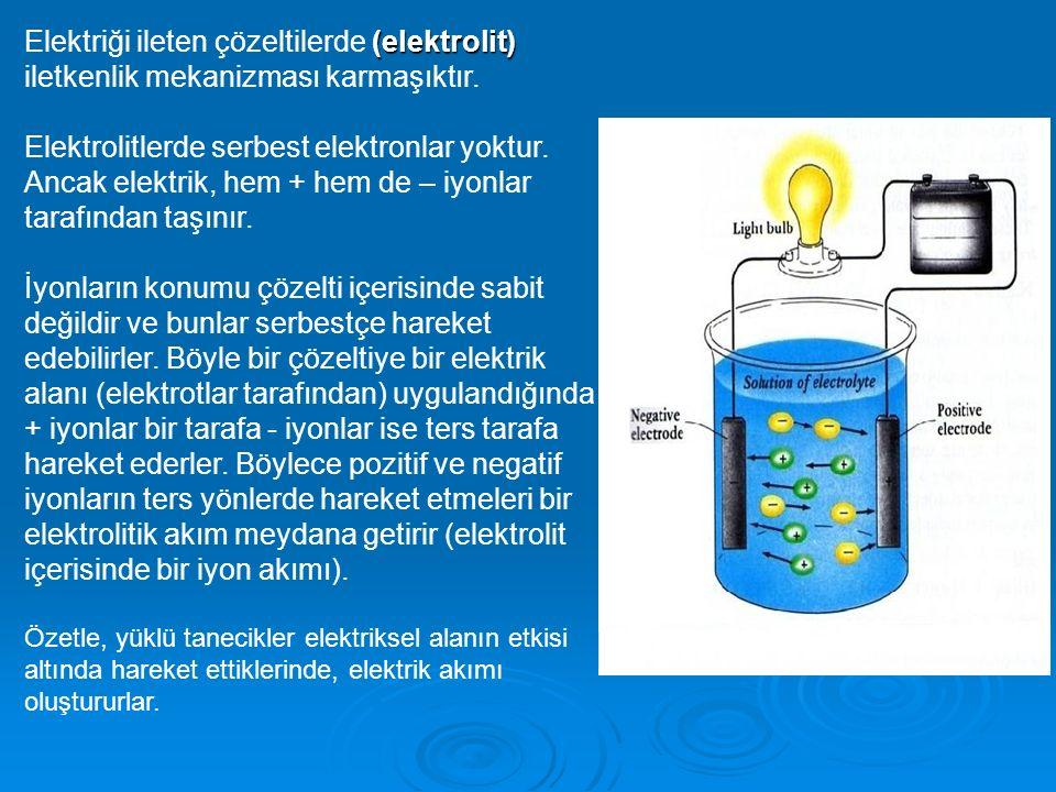 Elektriği ileten çözeltilerde (elektrolit) iletkenlik mekanizması karmaşıktır.