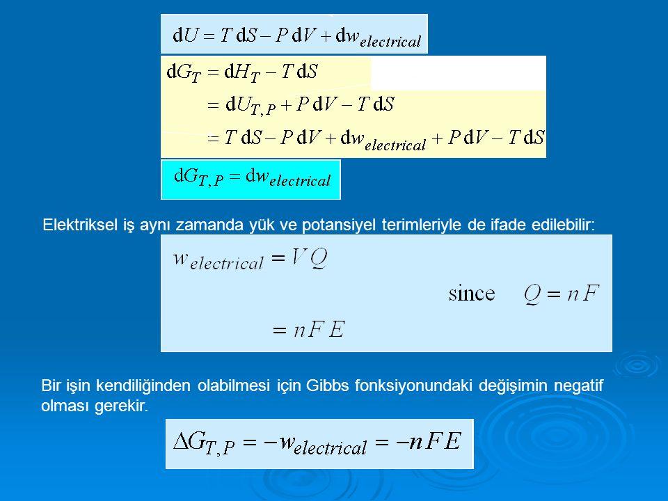 Elektriksel iş aynı zamanda yük ve potansiyel terimleriyle de ifade edilebilir: