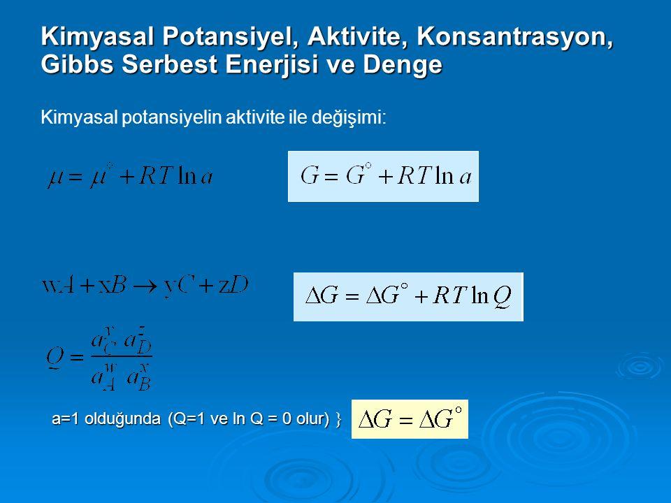 Kimyasal Potansiyel, Aktivite, Konsantrasyon, Gibbs Serbest Enerjisi ve Denge
