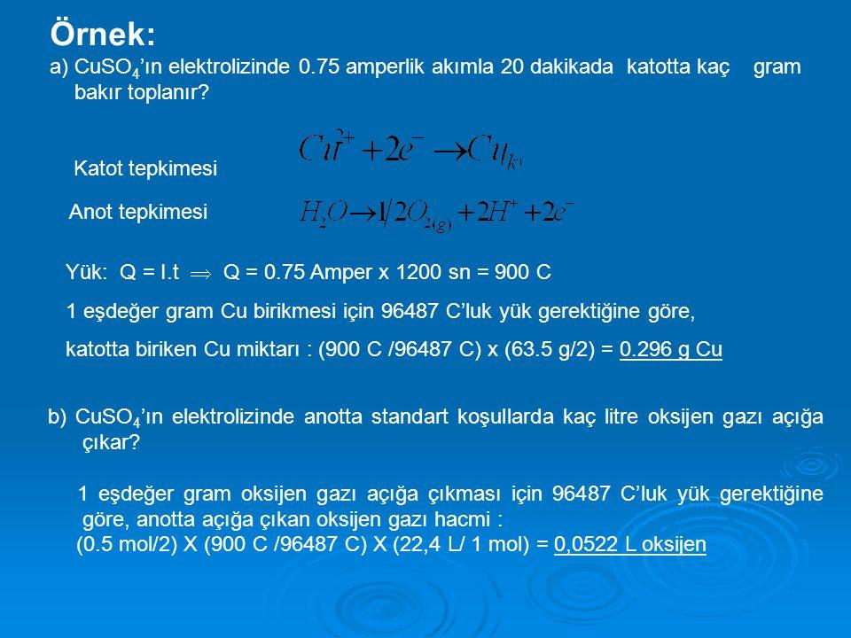 Örnek: a) CuSO4'ın elektrolizinde 0.75 amperlik akımla 20 dakikada katotta kaç gram bakır toplanır