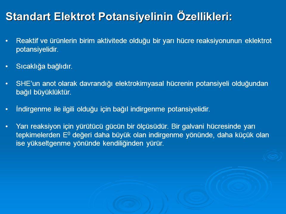 Standart Elektrot Potansiyelinin Özellikleri: