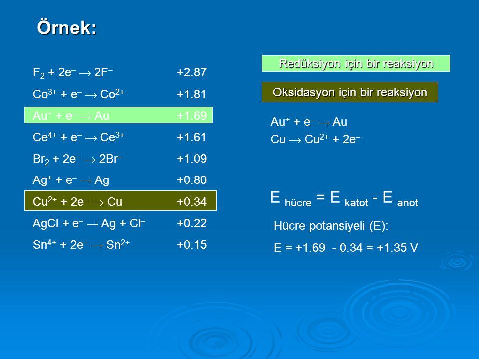 Örnek: E hücre = E katot - E anot Redüksiyon için bir reaksiyon