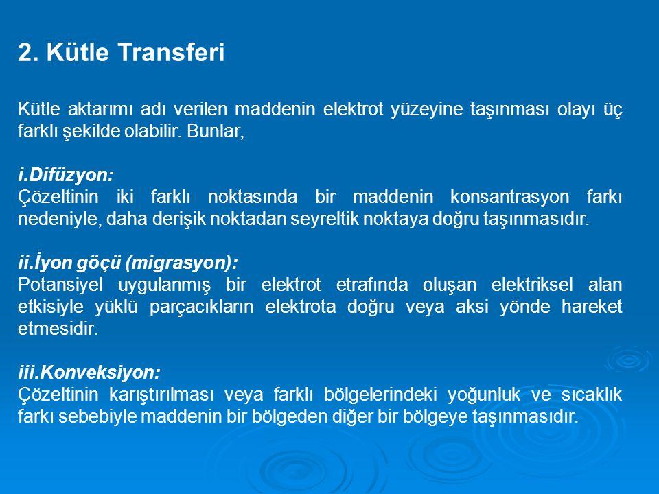 2. Kütle Transferi Kütle aktarımı adı verilen maddenin elektrot yüzeyine taşınması olayı üç farklı şekilde olabilir. Bunlar,