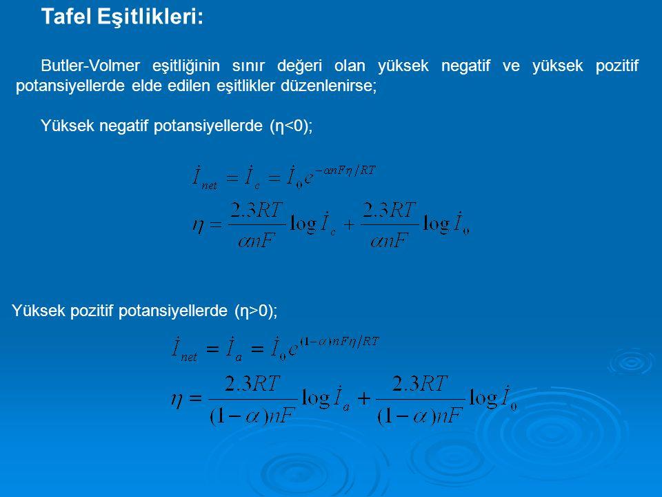 Tafel Eşitlikleri: Butler-Volmer eşitliğinin sınır değeri olan yüksek negatif ve yüksek pozitif potansiyellerde elde edilen eşitlikler düzenlenirse;
