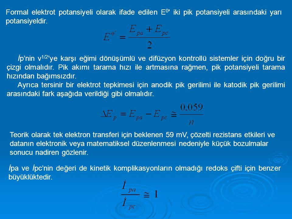 Formal elektrot potansiyeli olarak ifade edilen E0 iki pik potansiyeli arasındaki yarı potansiyeldir.