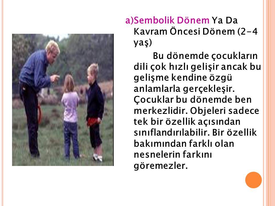 a)Sembolik Dönem Ya Da Kavram Öncesi Dönem (2-4 yaş) Bu dönemde çocukların dili çok hızlı gelişir ancak bu gelişme kendine özgü anlamlarla gerçekleşir.