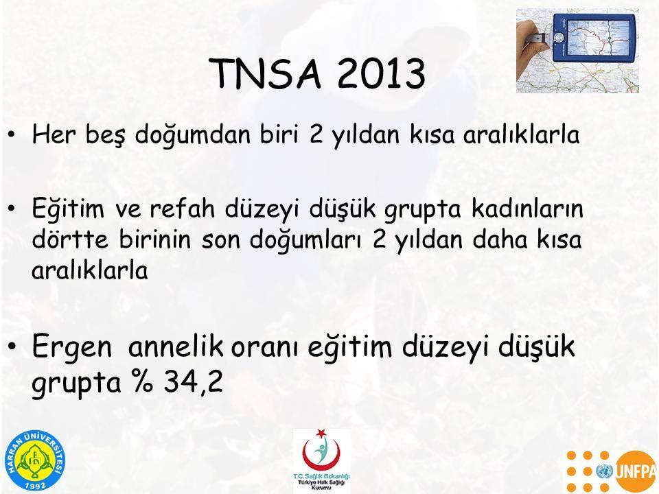 TNSA 2013 Ergen annelik oranı eğitim düzeyi düşük grupta % 34,2