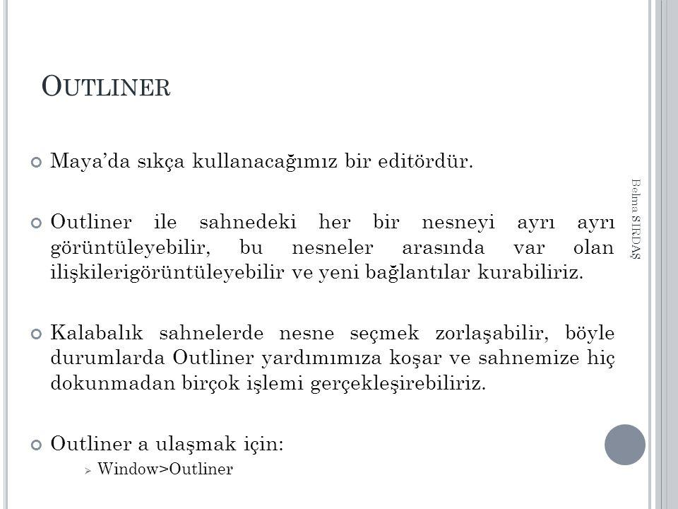 Outliner Maya'da sıkça kullanacağımız bir editördür.
