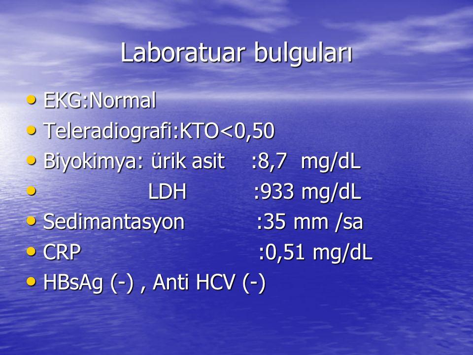 Laboratuar bulguları EKG:Normal Teleradiografi:KTO<0,50
