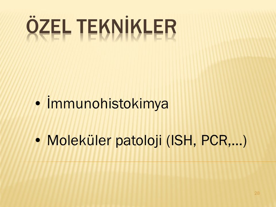 ÖZEL TEKNİKLER İmmunohistokimya Moleküler patoloji (ISH, PCR,...)