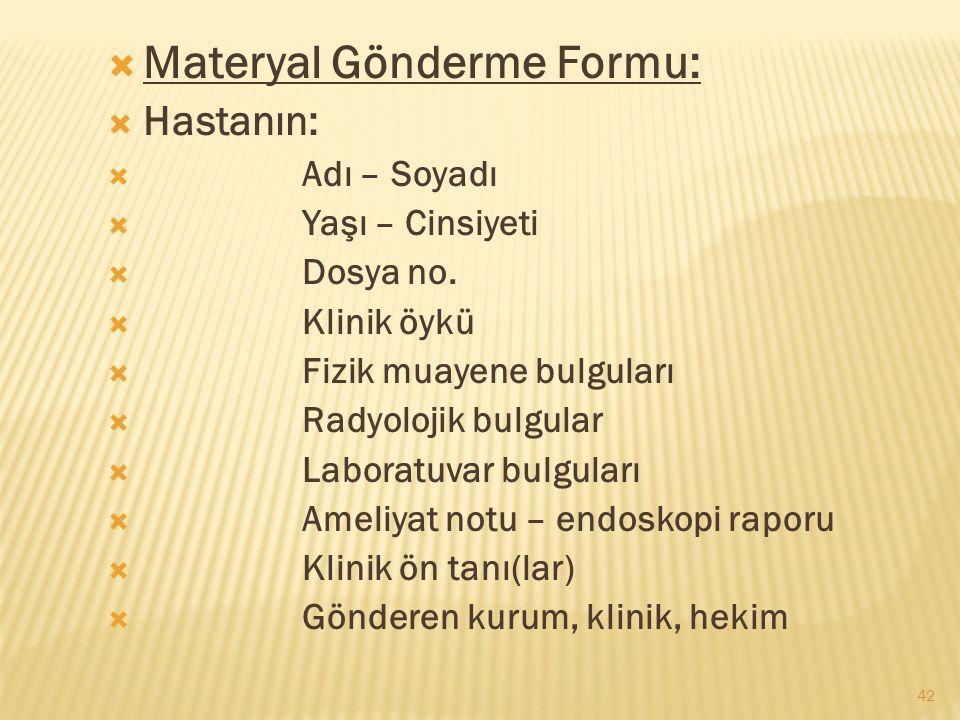Materyal Gönderme Formu: