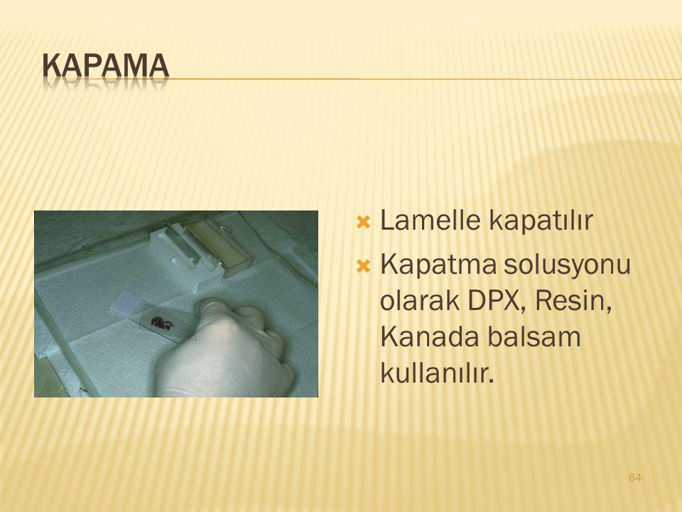 Kapama Lamelle kapatılır