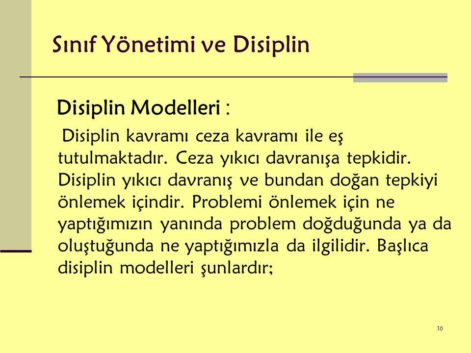 Sınıf Yönetimi ve Disiplin