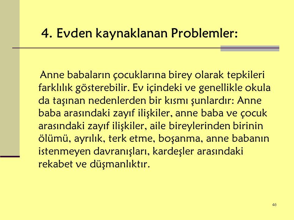 4. Evden kaynaklanan Problemler: