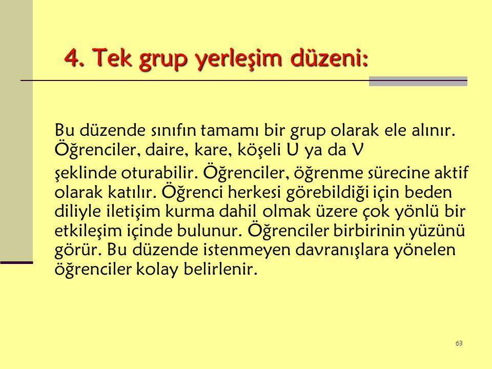 4. Tek grup yerleşim düzeni: