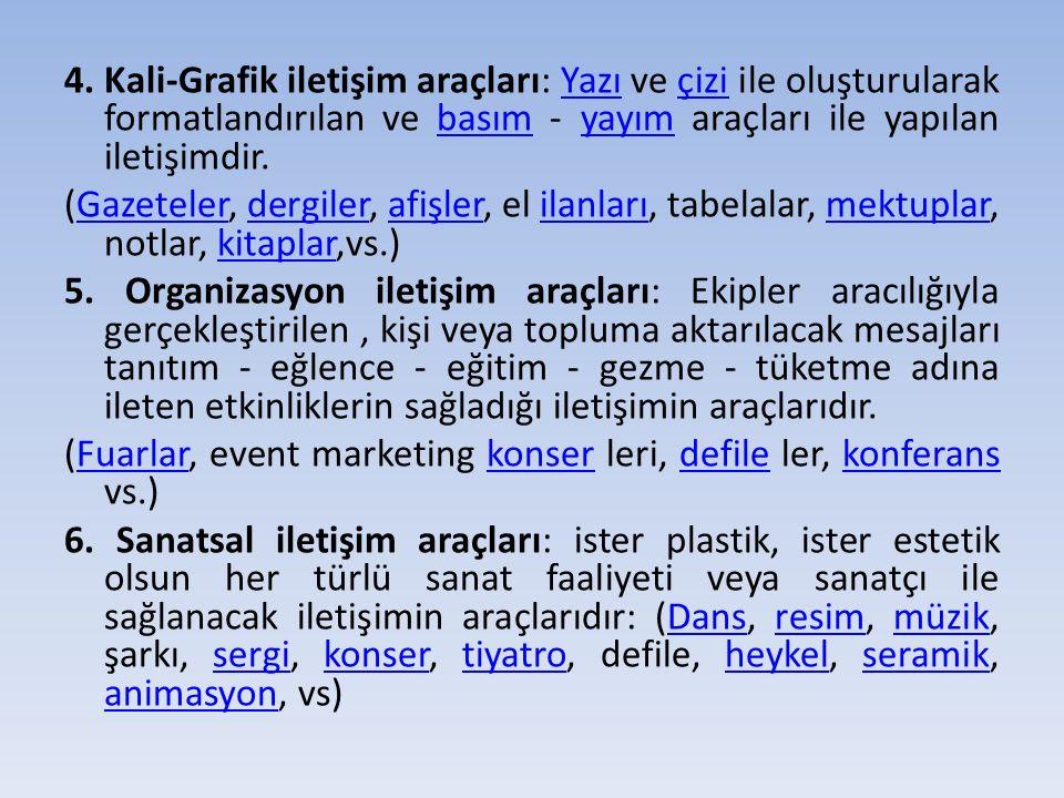 4. Kali-Grafik iletişim araçları: Yazı ve çizi ile oluşturularak formatlandırılan ve basım - yayım araçları ile yapılan iletişimdir.