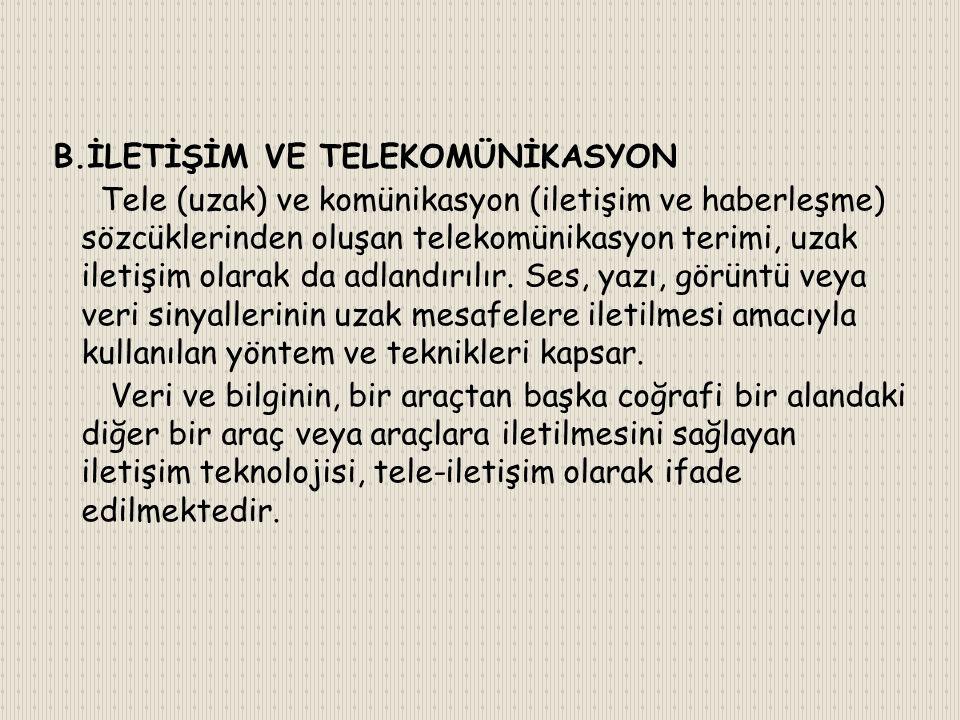 B.İLETİŞİM VE TELEKOMÜNİKASYON