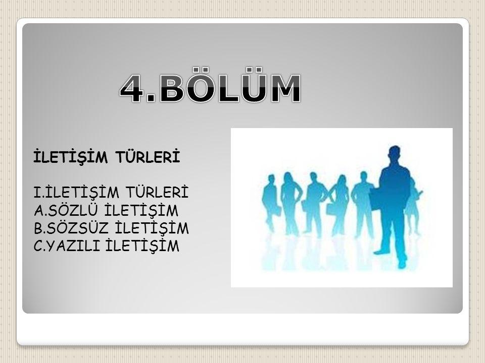 4.BÖLÜM İLETİŞİM TÜRLERİ I.İLETİŞİM TÜRLERİ A.SÖZLÜ İLETİŞİM
