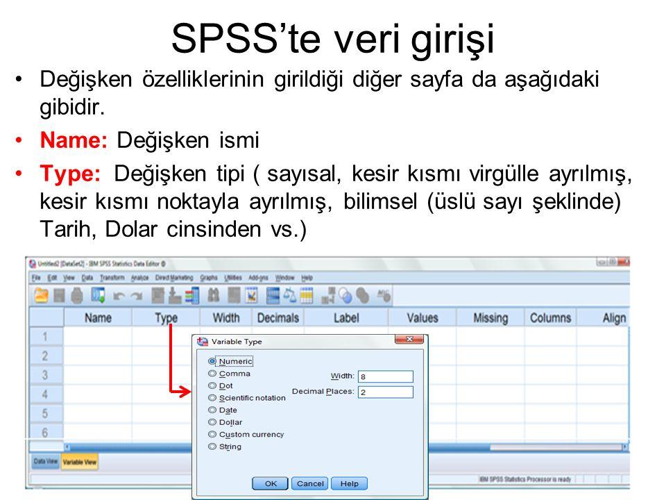 SPSS'te veri girişi Değişken özelliklerinin girildiği diğer sayfa da aşağıdaki gibidir. Name: Değişken ismi.