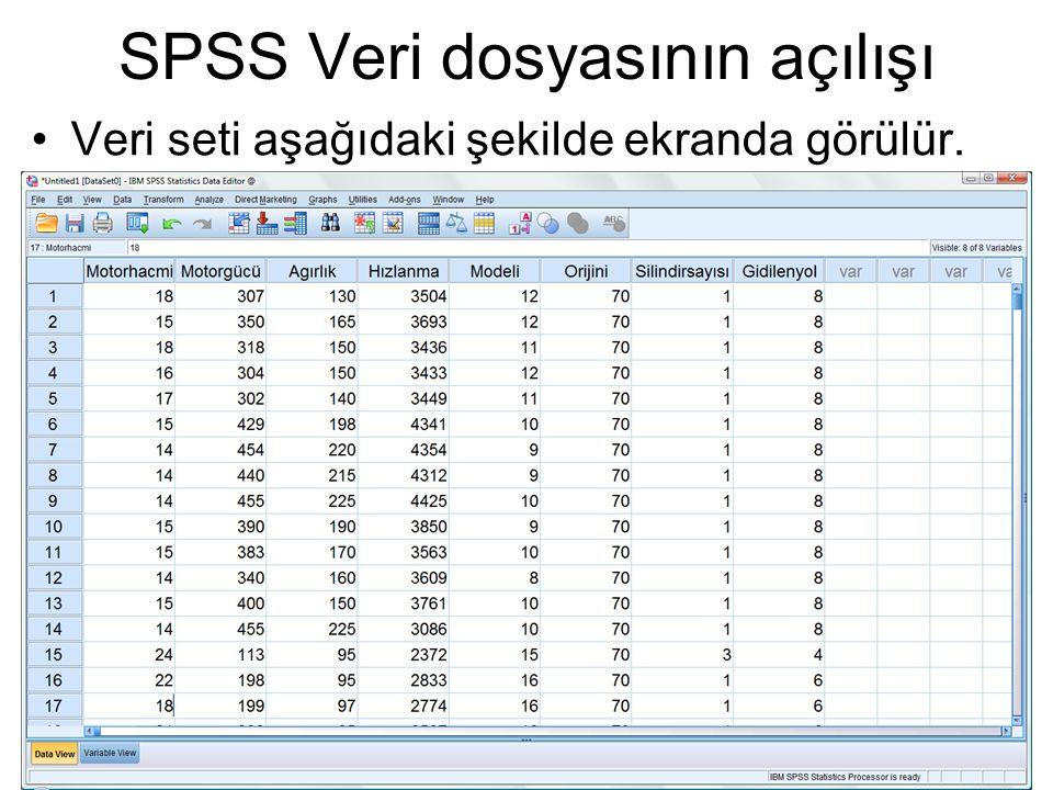 SPSS Veri dosyasının açılışı