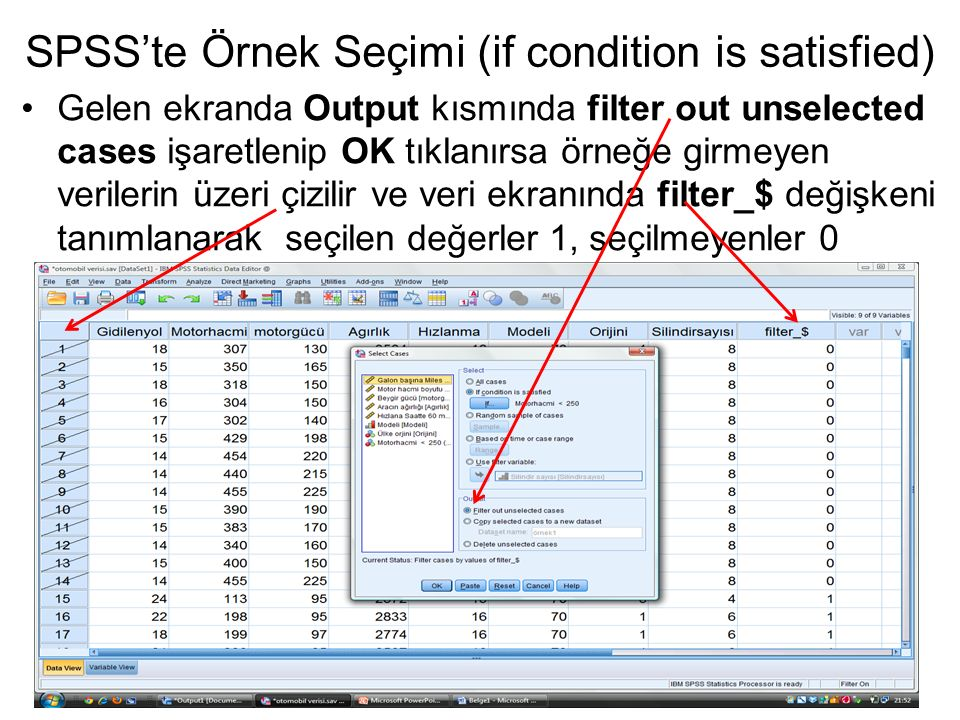 SPSS'te Örnek Seçimi (if condition is satisfied)