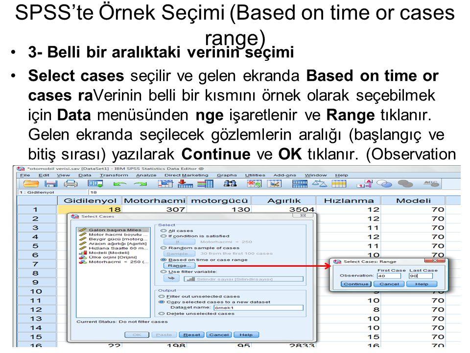 SPSS'te Örnek Seçimi (Based on time or cases range)