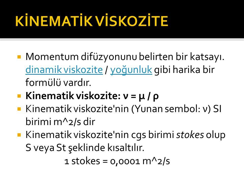 KİNEMATİK VİSKOZİTE Momentum difüzyonunu belirten bir katsayı. dinamik viskozite / yoğunluk gibi harika bir formülü vardır.