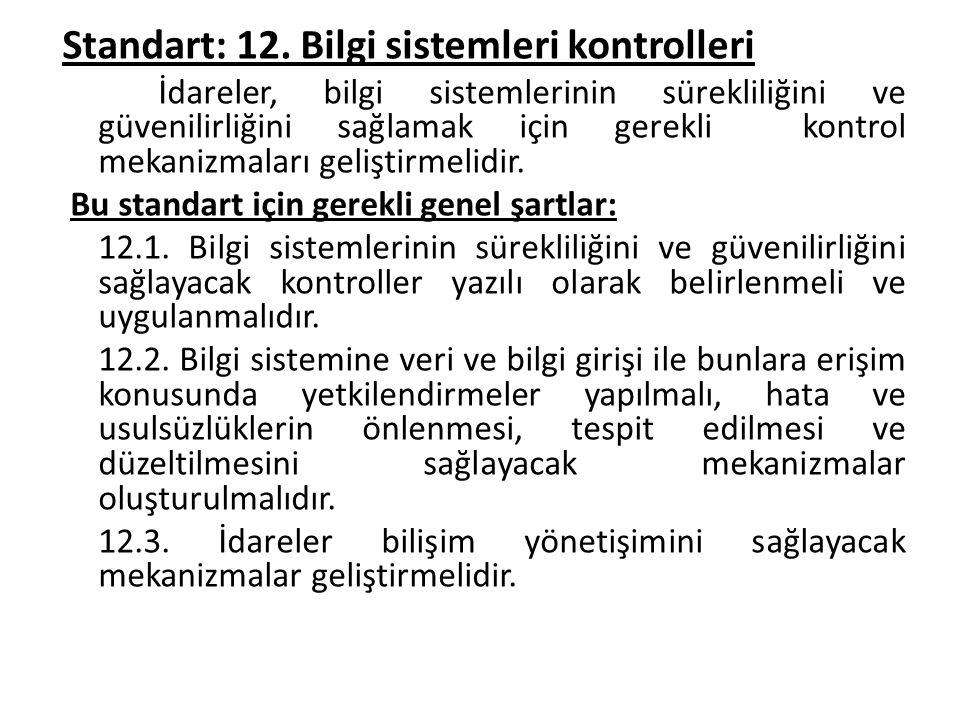 Standart: 12. Bilgi sistemleri kontrolleri