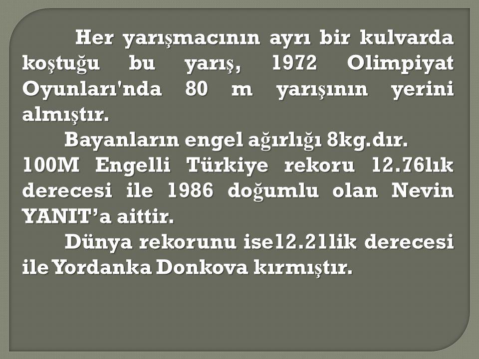 Her yarışmacının ayrı bir kulvarda koştuğu bu yarış, 1972 Olimpiyat Oyunları nda 80 m yarışının yerini almıştır.