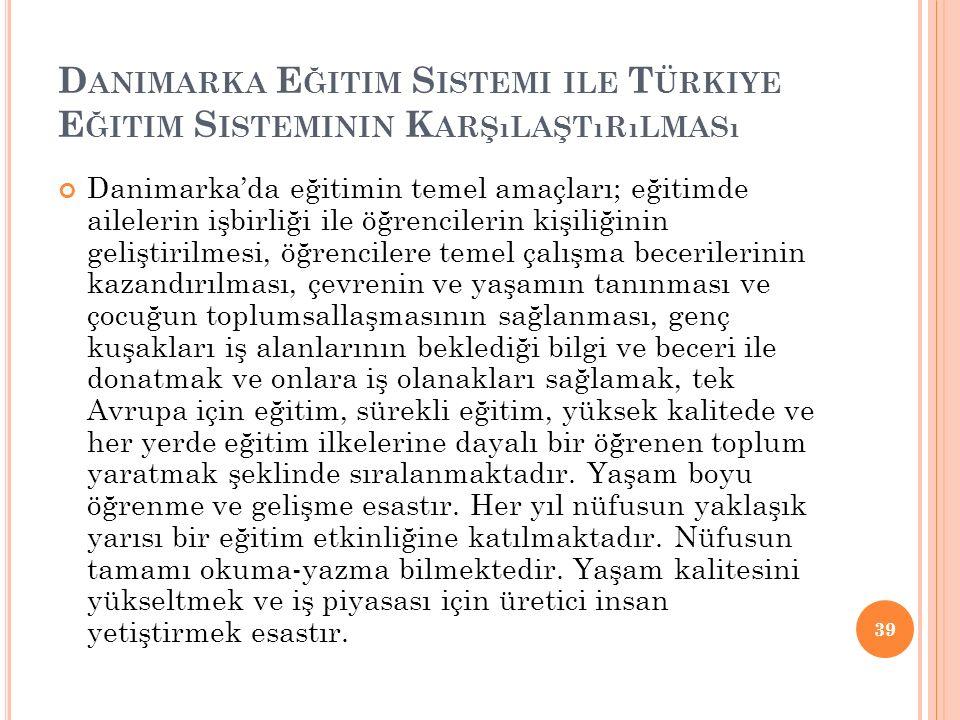 Danimarka Eğitim Sistemi ile Türkiye Eğitim Sisteminin Karşılaştırılması
