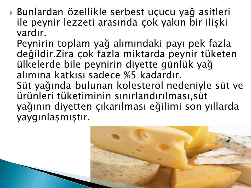 Bunlardan özellikle serbest uçucu yağ asitleri ile peynir lezzeti arasında çok yakın bir ilişki vardır.