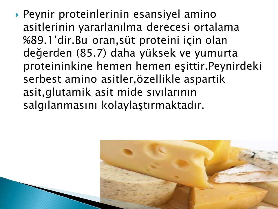 Peynir proteinlerinin esansiyel amino asitlerinin yararlanılma derecesi ortalama %89.1'dir.Bu oran,süt proteini için olan değerden (85.7) daha yüksek ve yumurta proteininkine hemen hemen eşittir.Peynirdeki serbest amino asitler,özellikle aspartik asit,glutamik asit mide sıvılarının salgılanmasını kolaylaştırmaktadır.