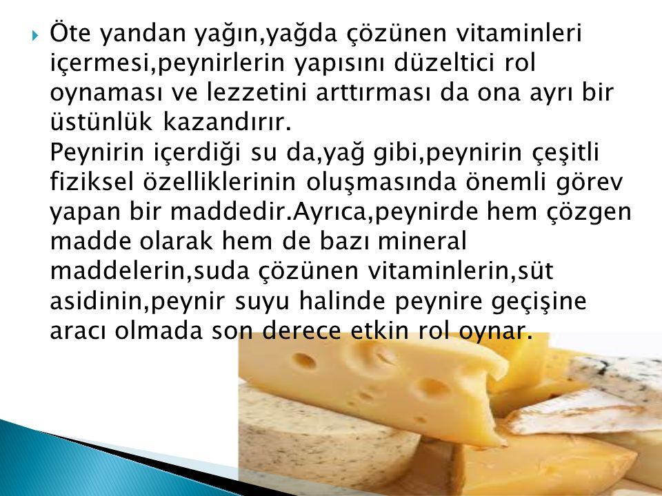 Öte yandan yağın,yağda çözünen vitaminleri içermesi,peynirlerin yapısını düzeltici rol oynaması ve lezzetini arttırması da ona ayrı bir üstünlük kazandırır.