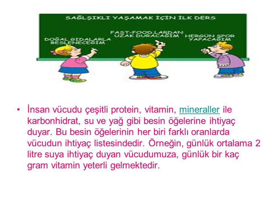 İnsan vücudu çeşitli protein, vitamin, mineraller ile karbonhidrat, su ve yağ gibi besin öğelerine ihtiyaç duyar.