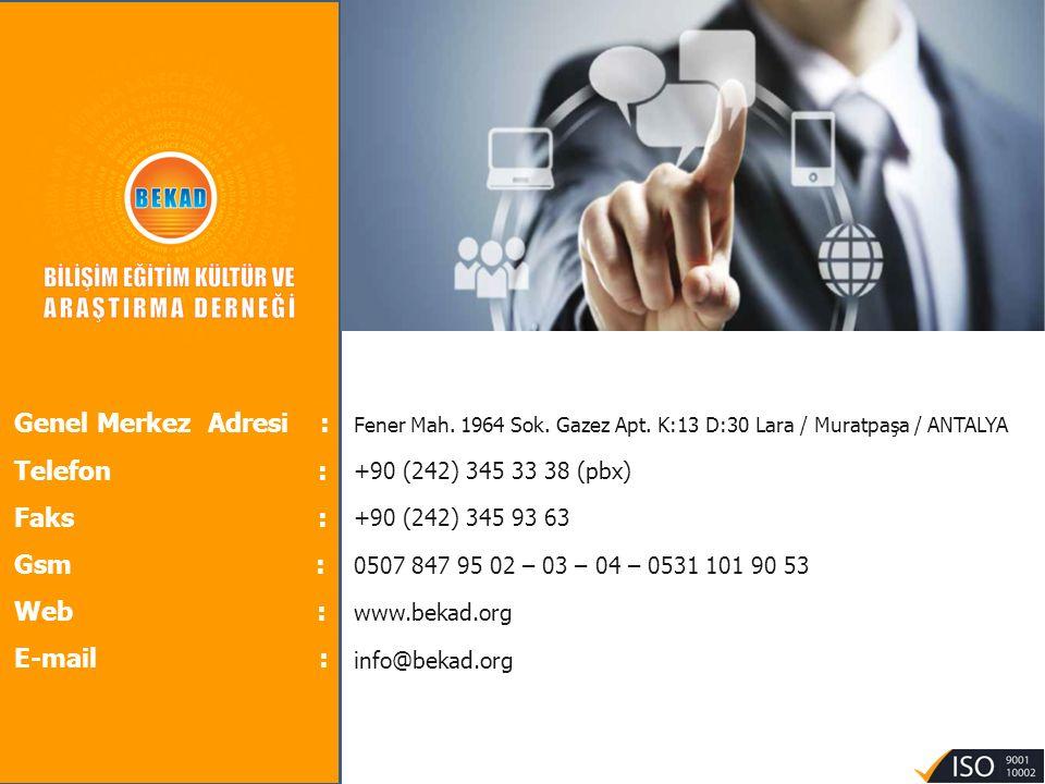 Genel Merkez Adresi : Telefon : Faks : Gsm : Web : E-mail :