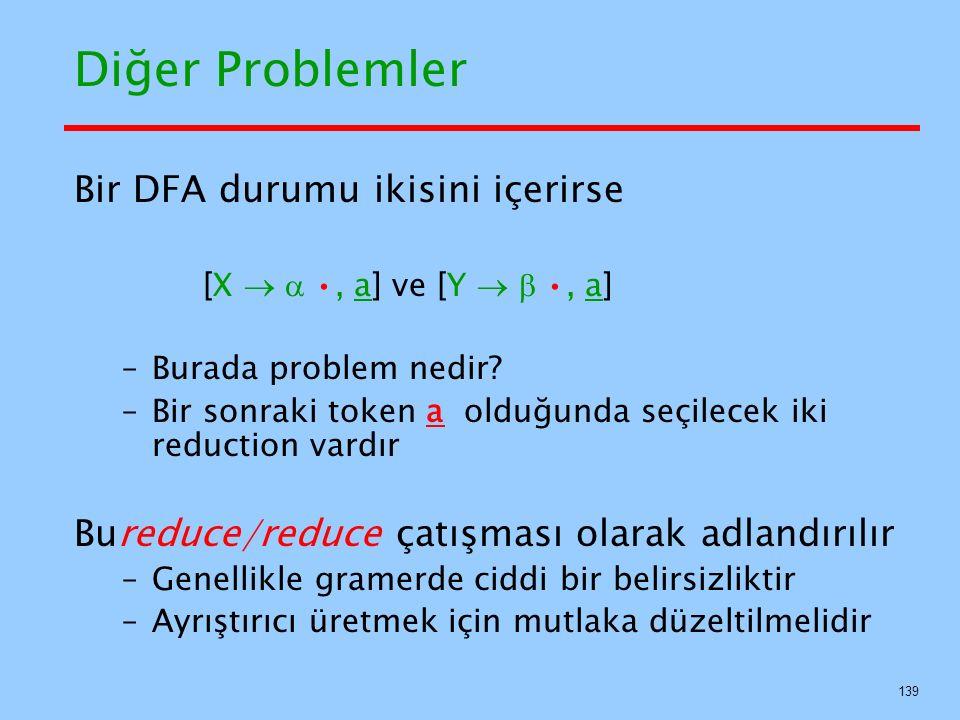 Diğer Problemler Bir DFA durumu ikisini içerirse