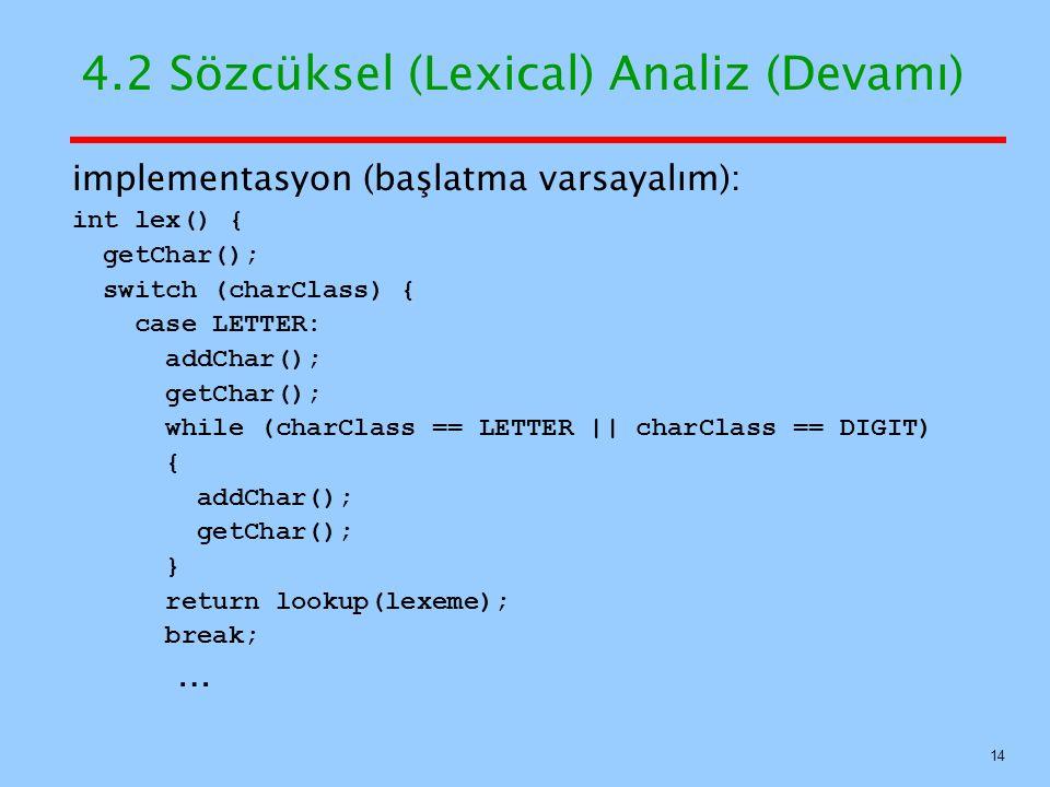 4.2 Sözcüksel (Lexical) Analiz (Devamı)