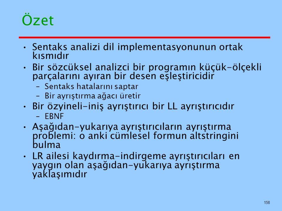 Özet Sentaks analizi dil implementasyonunun ortak kısmıdır