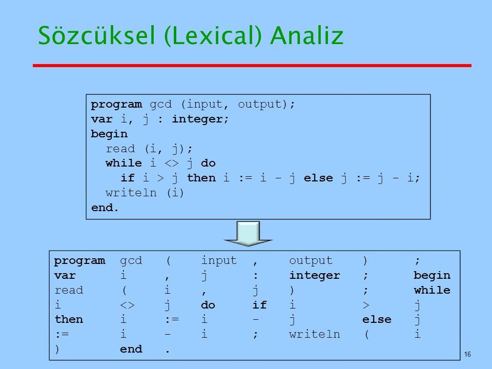 Sözcüksel (Lexical) Analiz